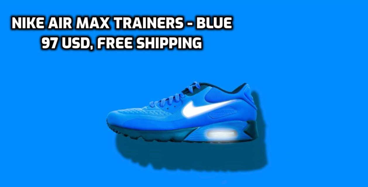 Blue Nike Sneakers Text in Photo