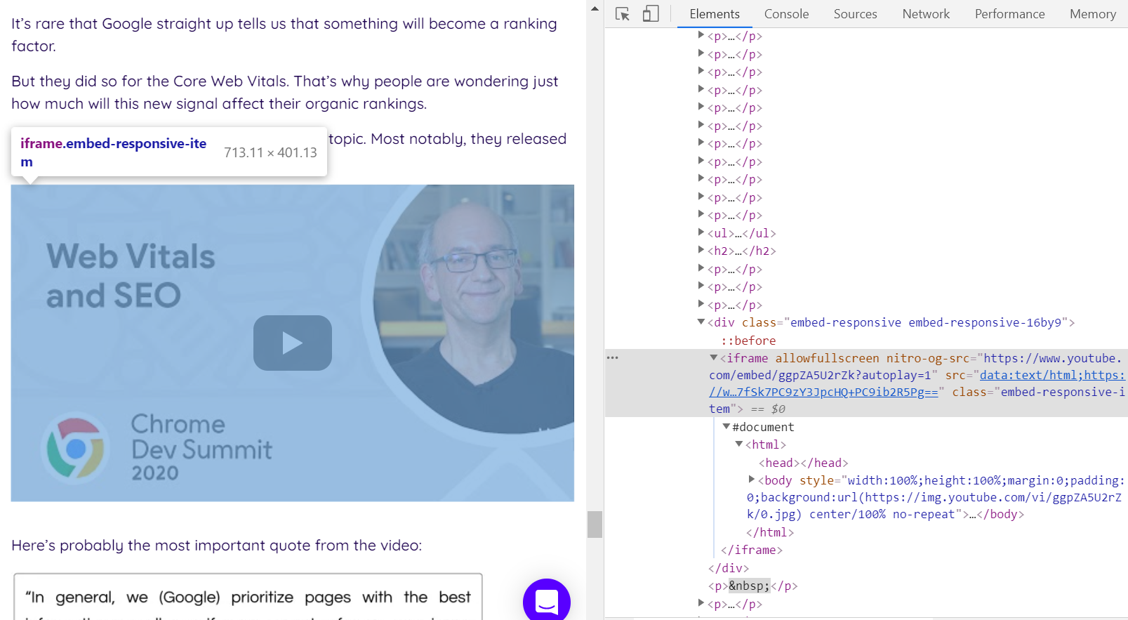 Analyzing embeds with DevTools