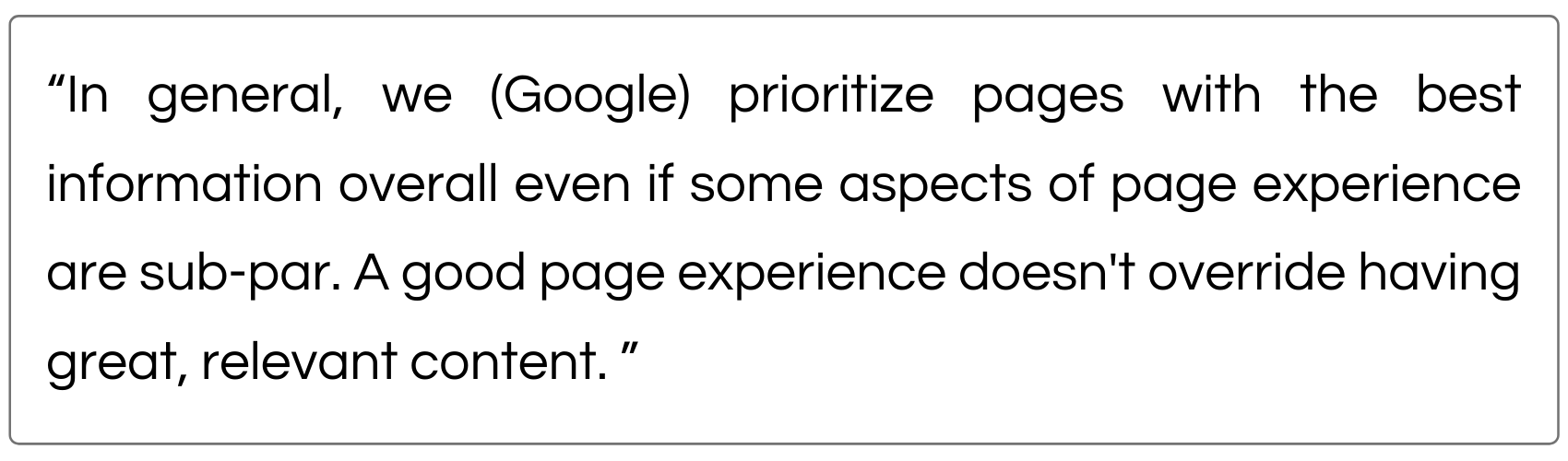 Google Quote about SEO and Core Web Vitals