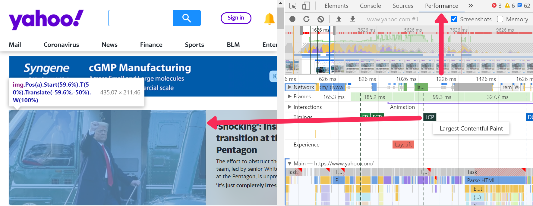 LCP in DevTools