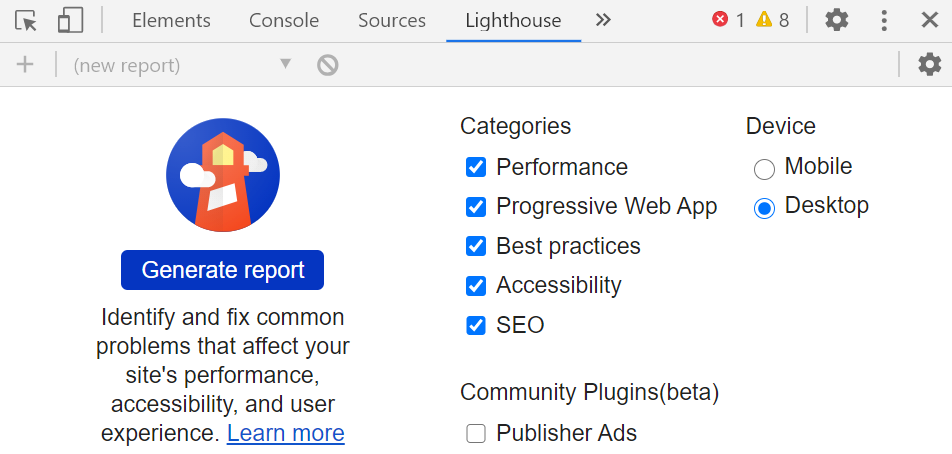 Lighthouse UI in DevTools