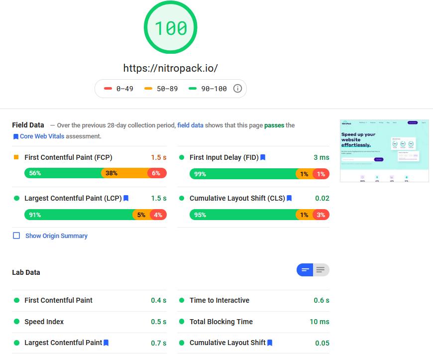 NitroPack PSI Score