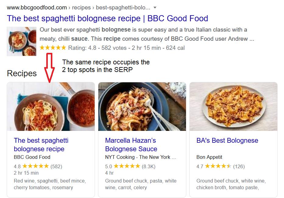 Bolognese Recipe Top 2 SERP Spots