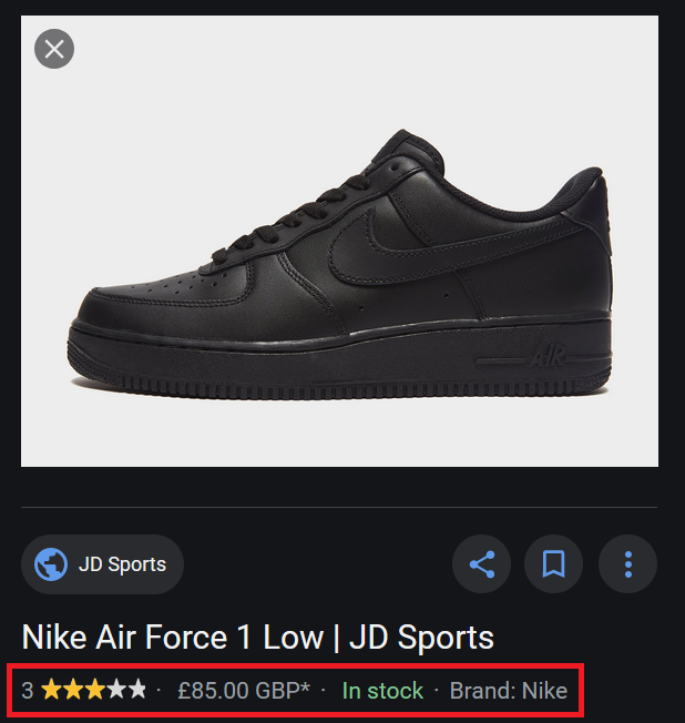 Black Sneakers Google Images With Structured Data